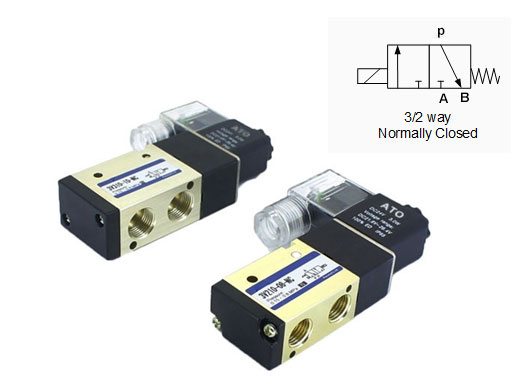 pneumatic solenoid valve 3-way normally closed